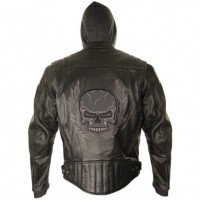 Xelement Mens Armored Leather Motorcycle Jacket with Skull Embroidery and Hoodie BXU573