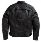 HARLEY Mens Reflective Skull Leather Jacket