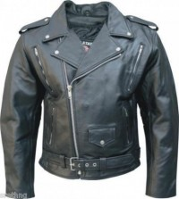 Mens Buffalo Leather Motorcycle Jacket AL2072