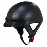 Outlaw Dark Rider Black-Leather Half Helmet