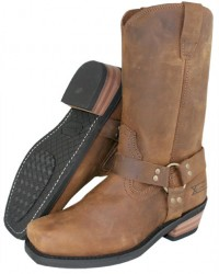 Xelement Classic Brown Harness Motorcycle Boots 1458