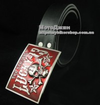 Lucky 13 Pirate Skull Red Buckle