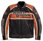 HARLEY Mens Classic Cruiser Leather Jacket Orange