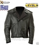 Xelement Naked American Classic Leather Motorcycle Jacket with Level-3 Advanced Armor B4700