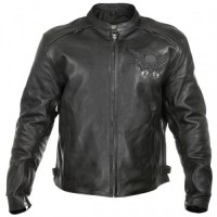 Xelement XS-2055 Armored Mens Leather Motorcycle Jacket with Reflective Skull Embroidery