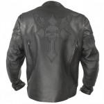 Xelement XS-2058 Armored Mens Leather Motorcycle Jacket with Reflective Skull & Cross Embroidery
