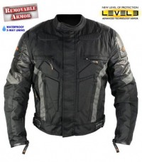 Xelement Extreme Black and Gray Cordura Jacket with Breathable 3 Way Lining with Level-3 Advanced Ar