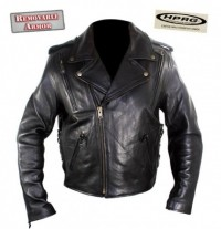 Xelement Mens Advanced Impact Resistant Armor Naked Leather Motorcycle Jacket B-7213
