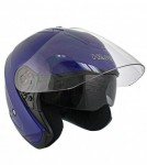 HAWK Blue Dual Visor Open Face Motorcycle Helmet AP-80