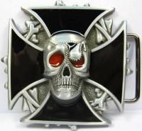 Pirate Metal Belt Buckle Iron Cross Skull B21