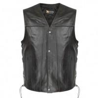 Xelement BXU-2611 Snap Button and Lace Black Men's Leather Vest