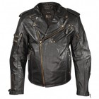 Xelement Armored Womens Black Leather Classic Stud Motorcycle Jacket XS-113