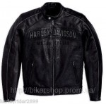 HARLEY Mens Reflective Perforated Leather Jacket