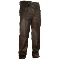 Xelement Classic Fit Brown Men's Leather Pants B7402