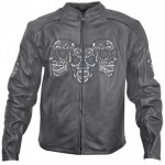 Xelement B-95199 Armored Mens Leather Motorcycle Jacket with Glow-in-the-Dark Skull Embroidery