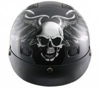 Outlaw Skull with Wings Vented Half Helmet V-513