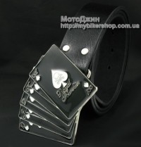 Playing Card Poker Skull Buckle