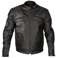 Xelement Armored Mens Black Leather Motorcycle Jacket XS-105