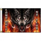 MOTORCYCLE LONE WOLF FLAG