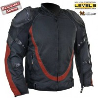 Mens Bl-Red Motorcycle Jacket Breathable 3 Way Lining B4543