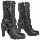 Xelement LU8003 Women's Fashion Buckle and Harness Motorcycle Boots