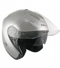 HAWK Silver Dual Visor Open Face Motorcycle Helmet AP-80