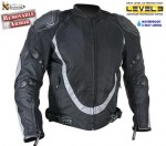 Mens Black-Silver Motorcycle Jacket with 3 way lining B4540
