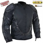 Mens Black Motorcycle Jacket Breathable 3 Way Lining B4541