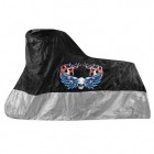 Xelement Premium Black/Silver Motorcycle Cover with Skull and Wing Graphics MC-80-SIL-BLK-COVER