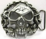 Skull Belt Buckle 666 Chains Metal B64