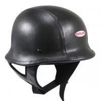 Outlaw GLW3 German Leather Motorcycle Half Helmet
