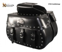 Xelement Waterproof Classic Studded with Eagle Head Emblem Motorcycle Saddlebags X-930