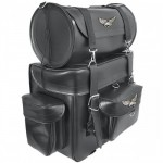 Xelement X-570 Two-Piece Motorcycle Tour Pack with Metal Eagle Ornaments