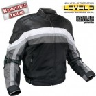 Men's Armored Black and Grey Tri-Tex Fabric and Leather Trim Jacket with Level-3 Advanced Armor and