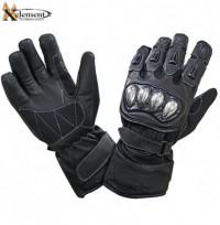 Xelement UNISEX Black Leather and Nylon Gauntlet Motorcycle Racing Gloves XG-799