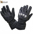 Xelement UNISEX Black Leather and Nylon Gauntlet Motorcycle Racing Gloves XG-799