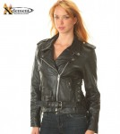Xelement B-7802 Ladies Classic Black Biker Motorcycle Jacket