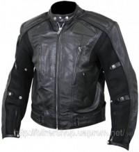 Xelement Defiant Men's Black Padded Biker Jacket with Mesh B-9114