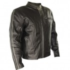 Xelement Mens Armored Leather Motorcycle Jacket with Grey Stripes BXU172588