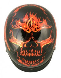 Outlaw Black with Flaming Evil Skull Helmet X-184