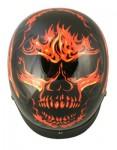 Outlaw Black with Flaming Evil Skull Helmet X-184