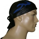 MD Leather Bandana H-2010 with blue flame