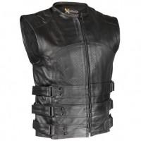 Xelement Men's Black Bandit Perforated Leather Vest XS-815