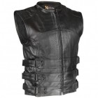 Xelement Men's Black Bandit Perforated Leather Vest XS-815
