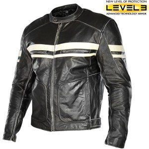 Xelement Men's Prime Black/Beige Distressed Leather Jacket XS-109-345
