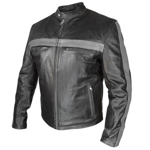 Xelement Men's Grey Striped Black Leather Jacket BXU-571