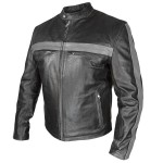 Xelement Men's Grey Striped Black Leather Jacket BXU-571
