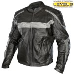 Xelement Men's Vigilante Black/Grey Leather Jacket XS-111-305