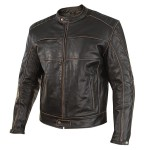 Xelement Men's Boone Charcoal Dark Brown Distressed Buffalo Leather Jacket XS-151-300