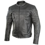 Xelement Men's Phantom Speedster Black Leather Motorcycle Jacket XS-30250